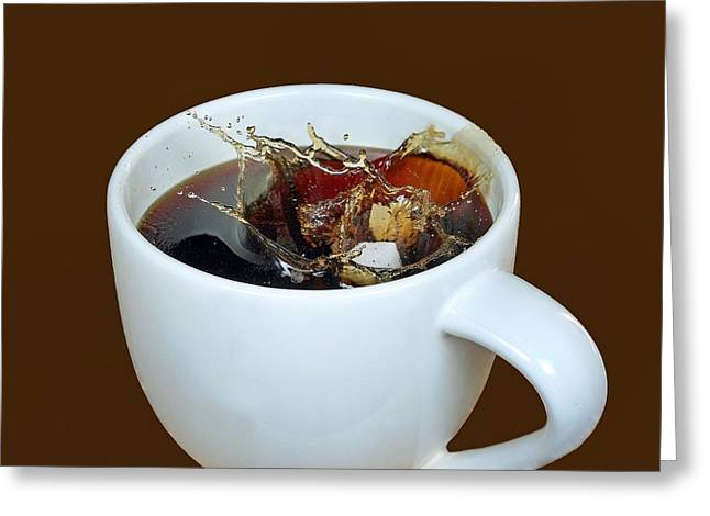 Sugar Cube Greeting Cards - Coffee-Splash Greeting Card by Manfred Lutzius