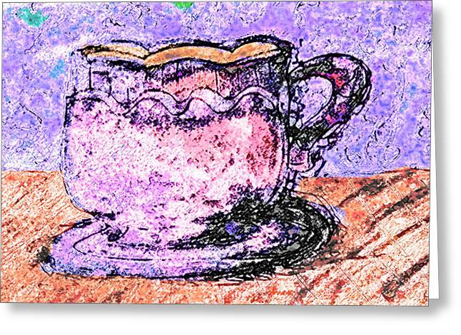 Color Enhanced Mixed Media Greeting Cards - Coffee tea or someone besides me Greeting Card by Melissa Osborne
