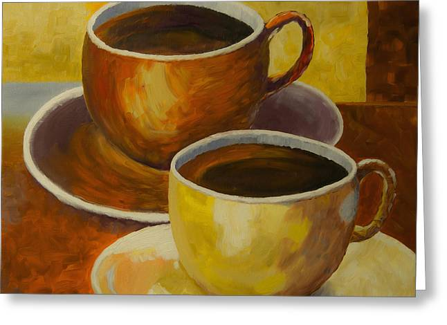 Coffee Time Greeting Card by Veikko Suikkanen