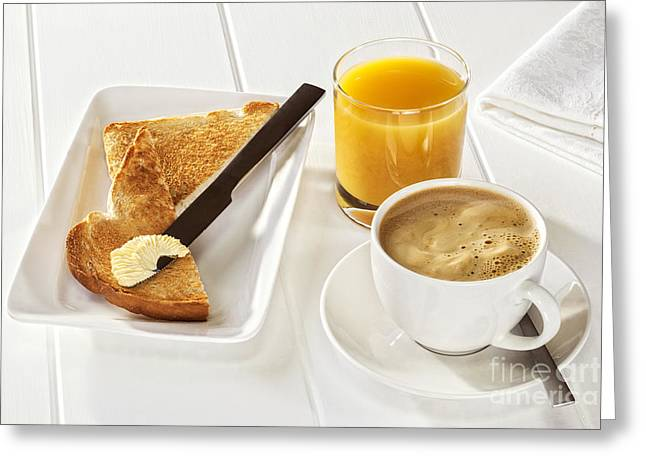 Toast Greeting Cards - Coffee Toast Orange Juice Greeting Card by Colin and Linda McKie