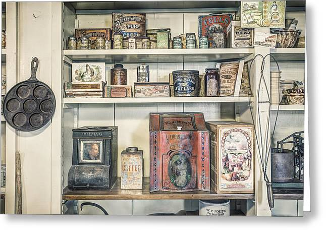 Canned Goods Greeting Cards - Coffee Tobacco and Spice - On the shelves at a 19th Century General Store Greeting Card by Gary Heller