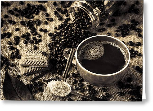 Americano Greeting Cards - Coffee V Greeting Card by Marco Oliveira