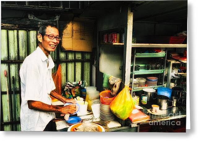 At Work Greeting Cards - Coffee Vendor on South East Asian Street Stall Greeting Card by David Hill