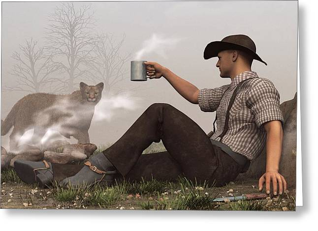 Commune Greeting Cards - Coffee With a Cougar Greeting Card by Daniel Eskridge