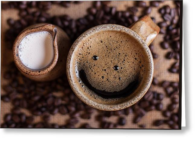Tabletop Greeting Cards - Coffee With A Smile Greeting Card by Aaron Aldrich