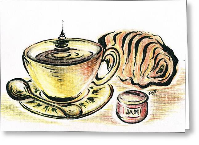 Golden Brown Drawings Greeting Cards - Coffee with Jam Qroissant Greeting Card by Teresa White