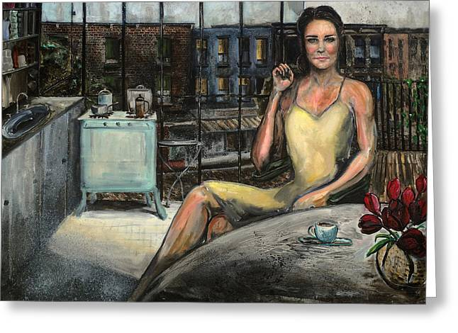 Kate Middleton Paintings Greeting Cards - Coffee with Kate Greeting Card by Antonio Ortiz