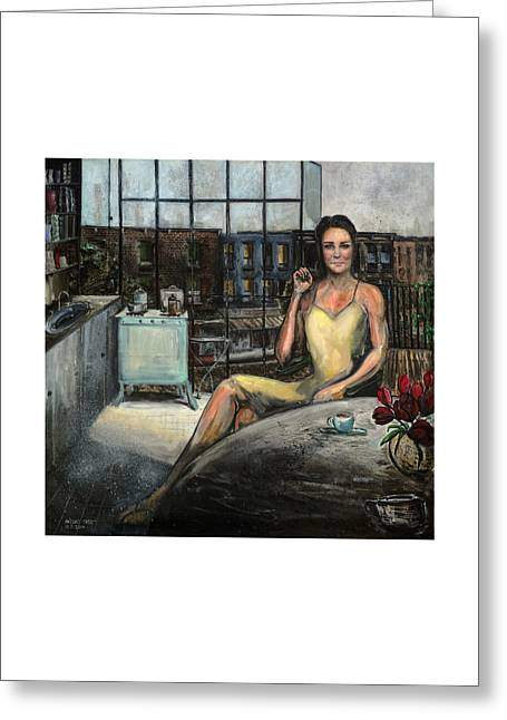 Catherine Jackson Greeting Cards - Coffee with Kate Greeting Card by Antonio Ortiz