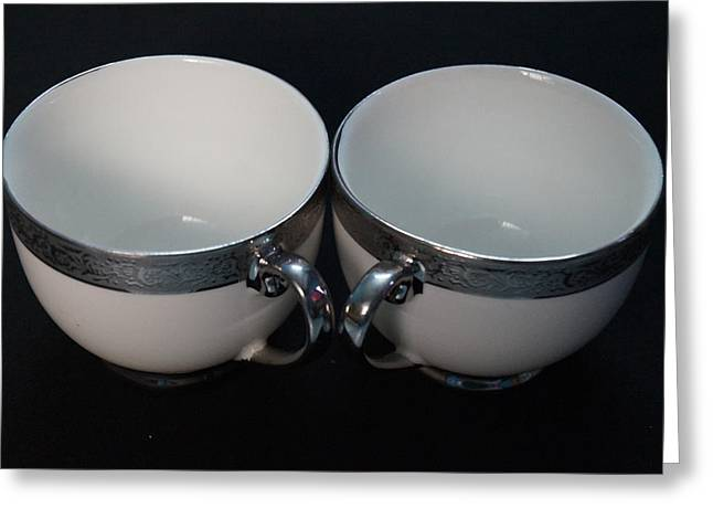 Two Coffee Cups Greeting Cards - Coffee with me Greeting Card by MS  Fineart Creations