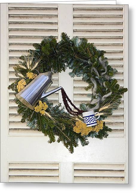 Pewter Mugs Greeting Cards - Coffee Wreath Greeting Card by Sally Weigand