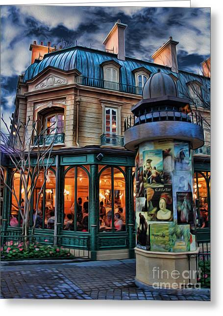 European Restaurant Greeting Cards - Coffeehouse - Belle Soiree Au Cafe II Greeting Card by Lee Dos Santos