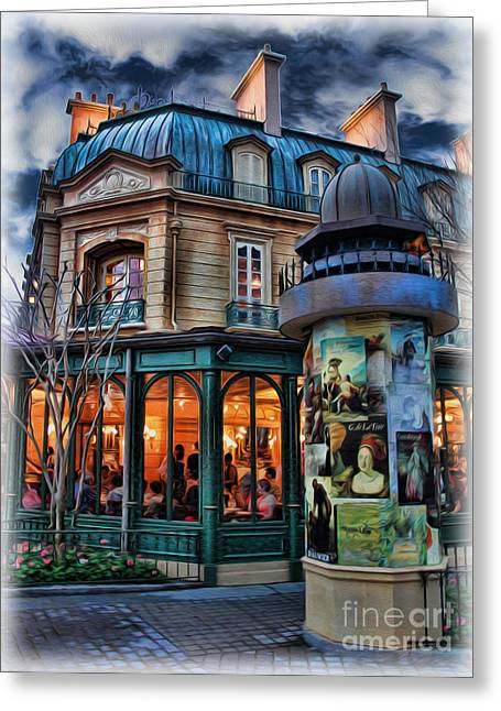Thank You In French Greeting Cards - Coffeehouse - Belle Soiree Au Cafe Greeting Card by Lee Dos Santos