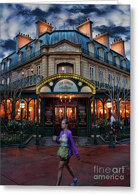 Thank You In French Greeting Cards - Coffeehouse - The Sidewalk Cafe II Greeting Card by Lee Dos Santos