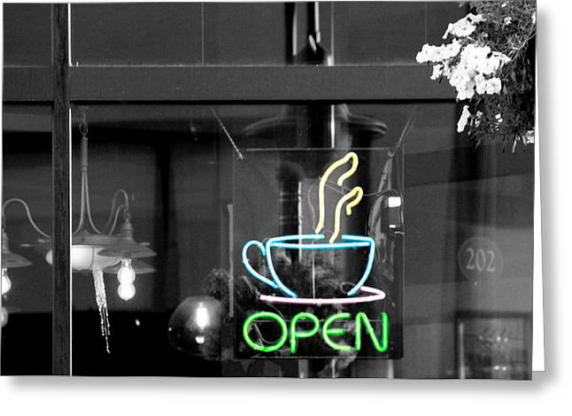 Time Works Greeting Cards - Coffeehouse Open Neon Sign Greeting Card by Dan Sproul