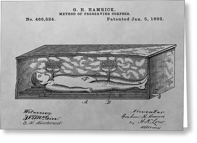 Thriller Drawings Greeting Cards - Coffin Patent Drawing Greeting Card by Dan Sproul