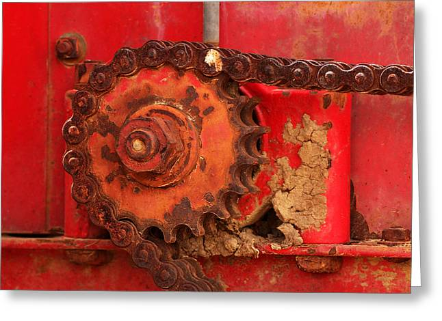 Cog Greeting Cards - Cog and Chain Greeting Card by Art Block Collections