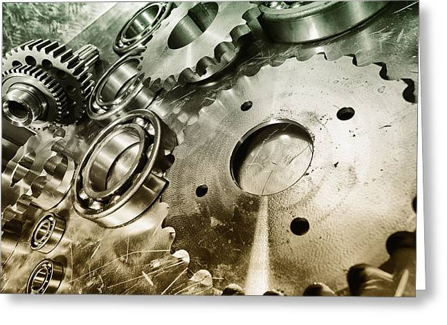 Stainless Steel Greeting Cards - Cogwheels And Gears Greeting Card by Christian Lagereek