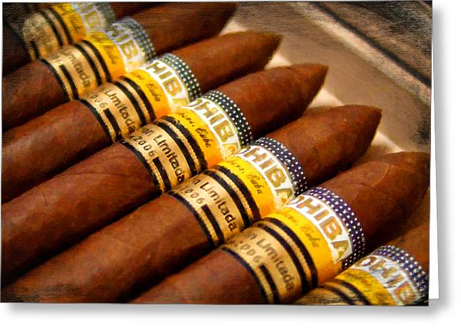 Relaxing Mixed Media Greeting Cards - Cohiba Cigar Painting Greeting Card by Tony Rubino