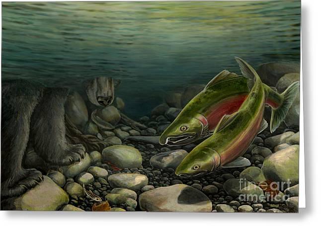 Coho Paintings Greeting Cards - Coho Fishing Greeting Card by Kim Hunter