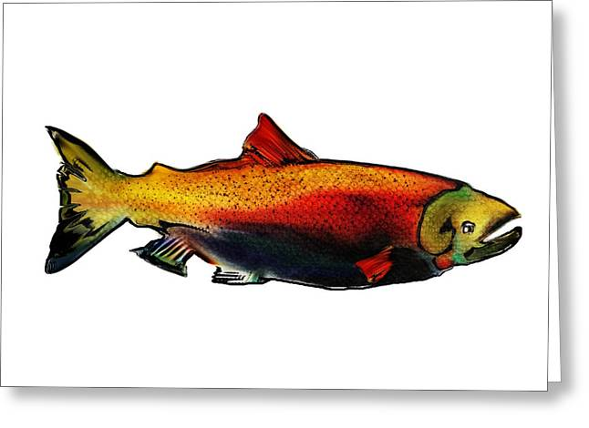 Salmon Mixed Media Greeting Cards - Coho Salmon Greeting Card by Mel Gross