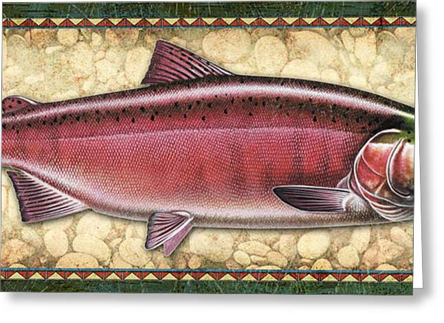 Salmon Paintings Greeting Cards - Coho Salmon Spawning Panel Greeting Card by JQ Licensing