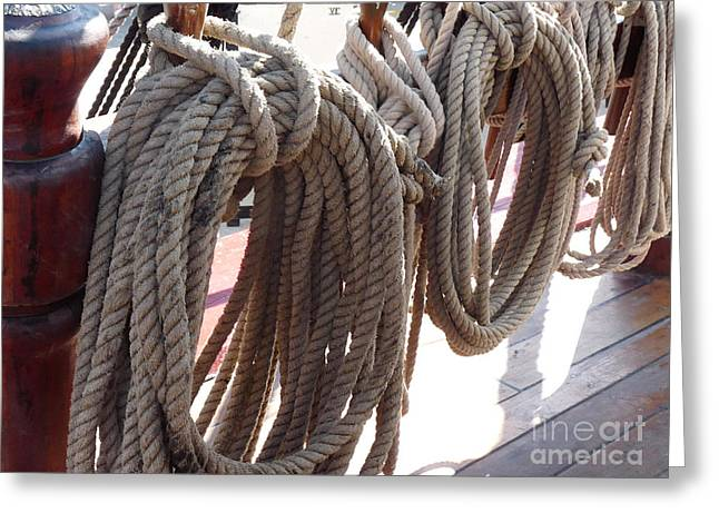 Masts Greeting Cards - Coiled Ships Rope Greeting Card by Deborah Smolinske