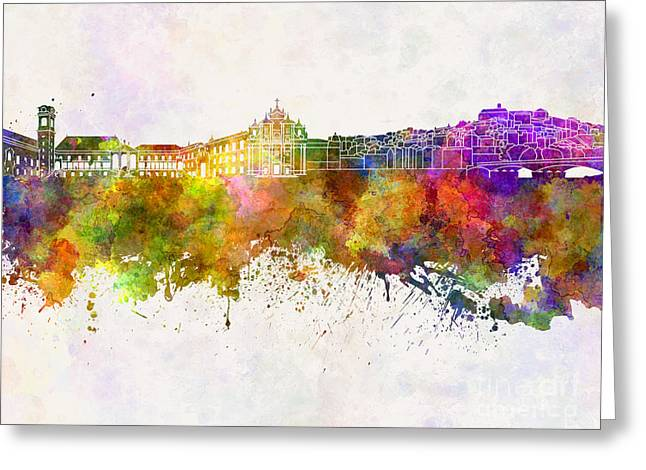 Portugal Paintings Greeting Cards - Coimbra skyline in watercolor background Greeting Card by Pablo Romero