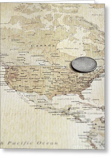 U.s. Coins Greeting Cards - Coin on Map Greeting Card by Birgit Tyrrell