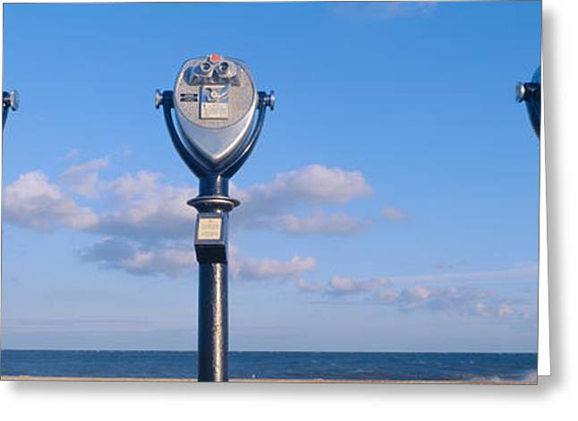 Ocean Shore Greeting Cards - Coin-operated Viewing Binoculars Greeting Card by Panoramic Images