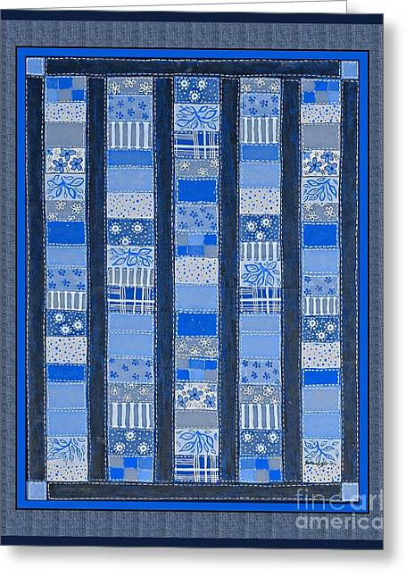 Coin Quilt -  Painting - Blue Patches Greeting Card by Barbara Griffin