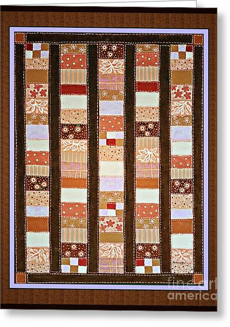 Barbara Griffin Quilts Greeting Cards - Coin Quilt -  Painting - Brown and White Patches Greeting Card by Barbara Griffin