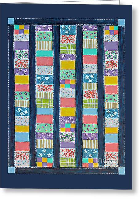Barbara Griffin Quilts Greeting Cards - Coin Quilt -  Painting - Multicolored Patches Greeting Card by Barbara Griffin