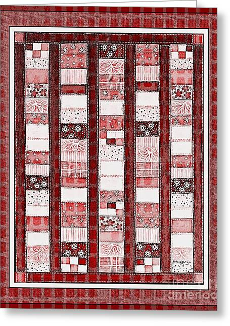Red Posts Quilt Greeting Cards - Coin Quilt -  Painting - Red Patches Greeting Card by Barbara Griffin