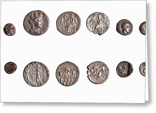 Coins Greeting Cards - Coins from Phoenicia and Philisti Greeting Card by Science Photo Library
