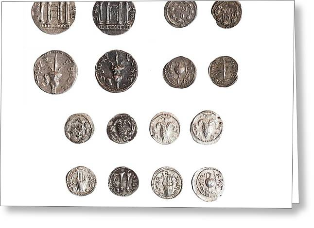 Coins From The Shimon Bar Kokhba Revol Greeting Card by Science Photo Library