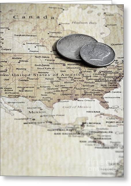 U.s. Coins Greeting Cards - Coins on Map Greeting Card by Birgit Tyrrell