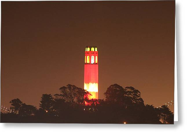 San Francisco Bay Pyrography Greeting Cards - Coit Tower 9r Style Greeting Card by DUG Harpster