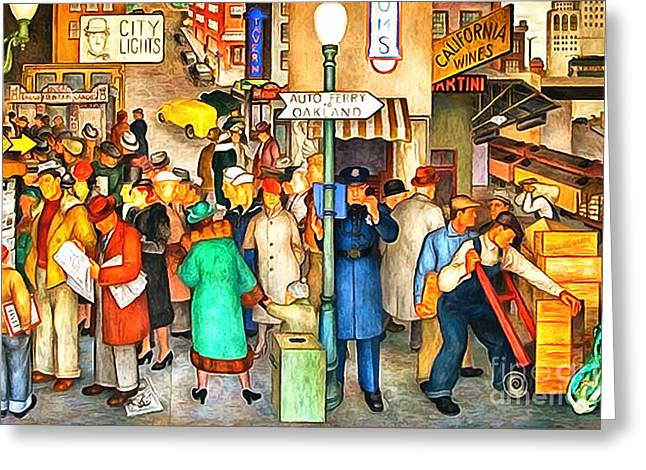 Work Area Greeting Cards - San Francisco Coit Tower Mural 20141005 v1 Greeting Card by Wingsdomain Art and Photography