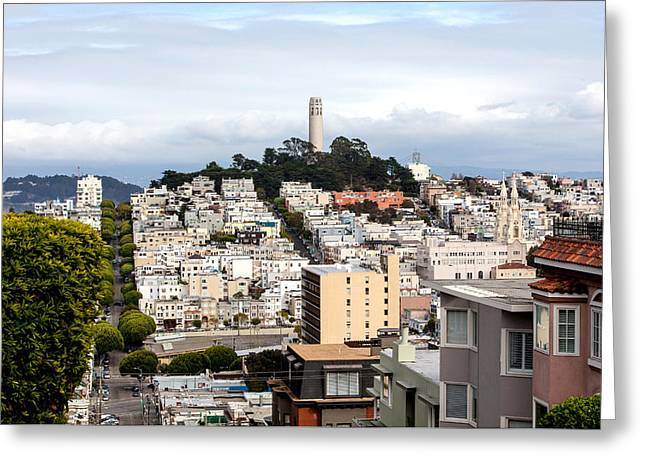 Pioneer Park Greeting Cards - Coit Tower San Francisco Greeting Card by Art Block Collections