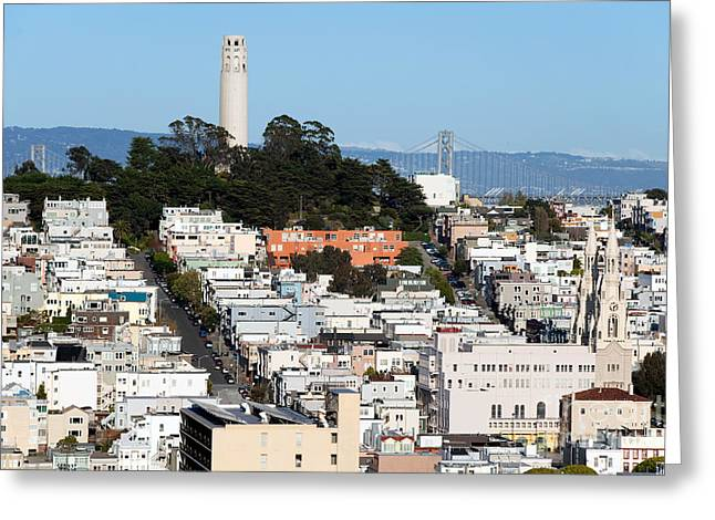Downtown San Francisco Greeting Cards - Coit Tower San Francisco CA Greeting Card by Bill Cobb