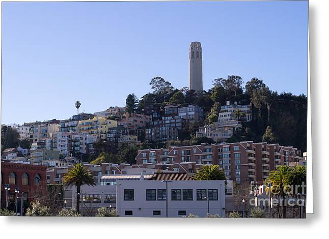 The Embarcadero Greeting Cards - Coit Tower San Francisco California DSC2000 Greeting Card by Wingsdomain Art and Photography