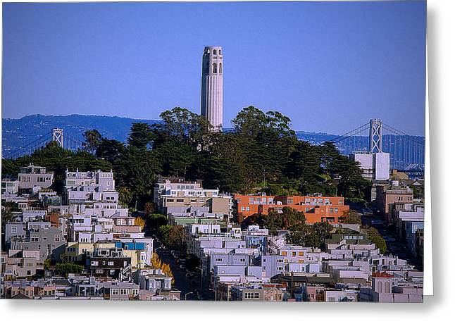 Downtown Area Pictures Greeting Cards - Coit Tower- San Francisco Greeting Card by See My  Photos