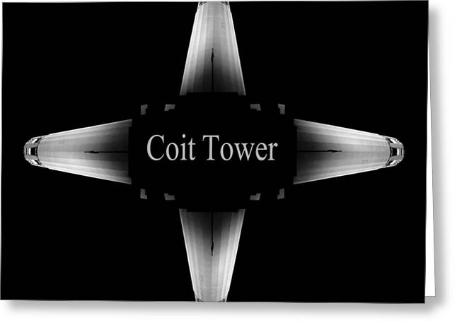 Historical Images Pyrography Greeting Cards - Coit Tower San Francisco Greeting Card by Fabien White