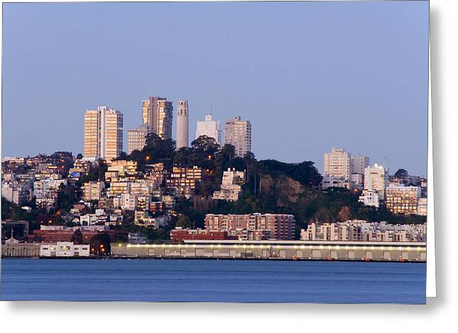 Coit Tower Sits Prominently On Top Of Telegraph Hill In San Fran Greeting Card by Scott Lenhart