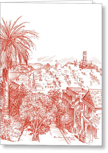 Voyage Drawings Greeting Cards - Coit Tower View From Russian Hill San Francisco Greeting Card by Irina Sztukowski