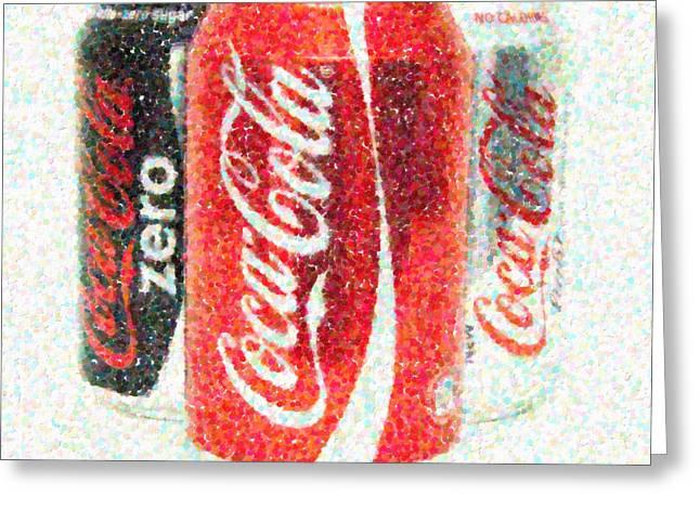 Soda Can Greeting Cards - Coka Cola Pointillism Greeting Card by Antony McAulay