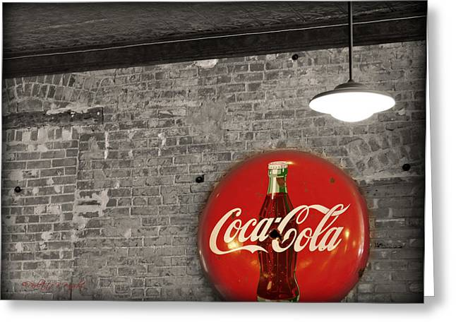 Paulette Wright Digital Art Greeting Cards - Coke Cola Sign Greeting Card by Paulette B Wright