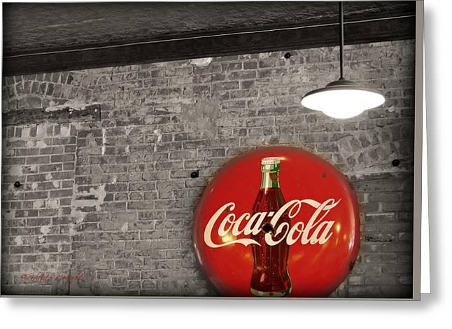 Paulette Wright Digital Art Greeting Cards - Coke Cola Sign Greeting Card by Paulette B Wright