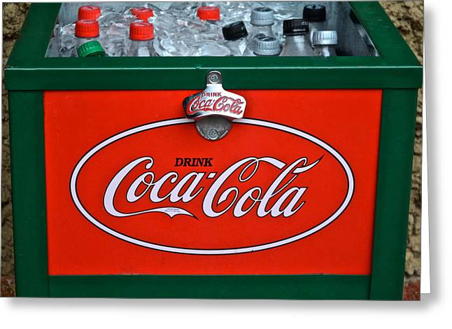 Bottle Cap Greeting Cards - Coke Cooler Greeting Card by Frozen in Time Fine Art Photography