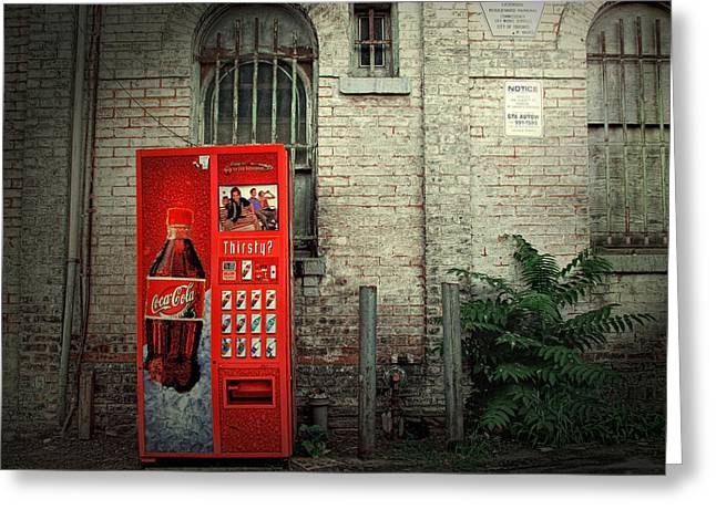 Vending Machine Photographs Greeting Cards - Coke Machine Street Scene Greeting Card by Randall Nyhof